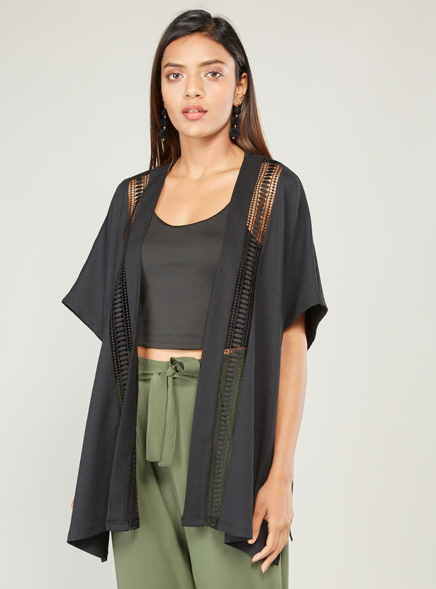 Textured Shrug with Trim Detail and Flared Sleeves
