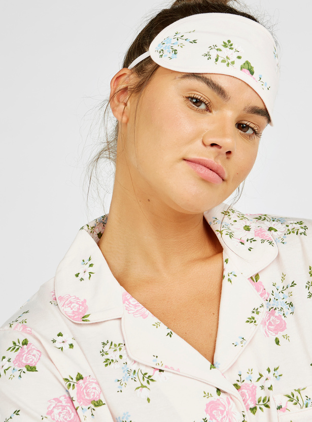 Floral Print 3-Piece Nightwear Set with Reversible Eye Mask