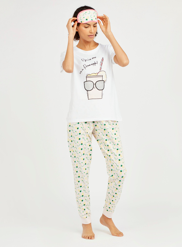 Graphic Print 3-Piece Sleepwear Set with Reversible Eye Mask