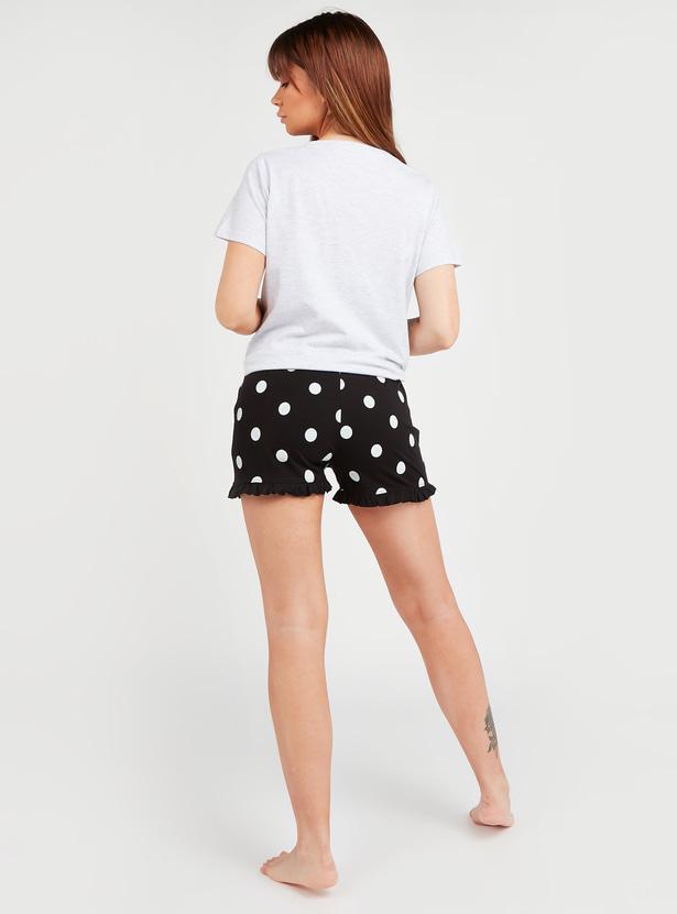 Hello Kitty Printed Round Neck T-shirt with Polka Dot Print Shorts