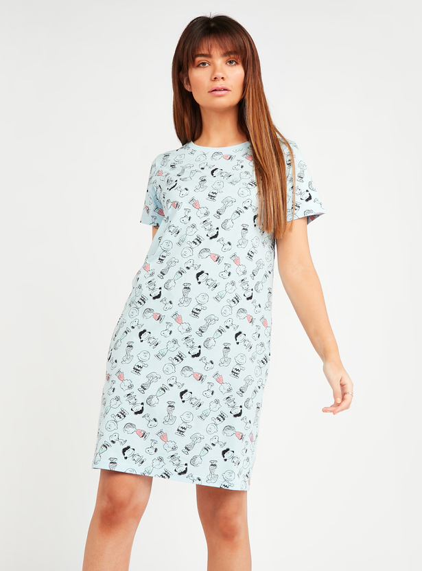Snoopy and Friends Print Sleepdress with Short Sleeves