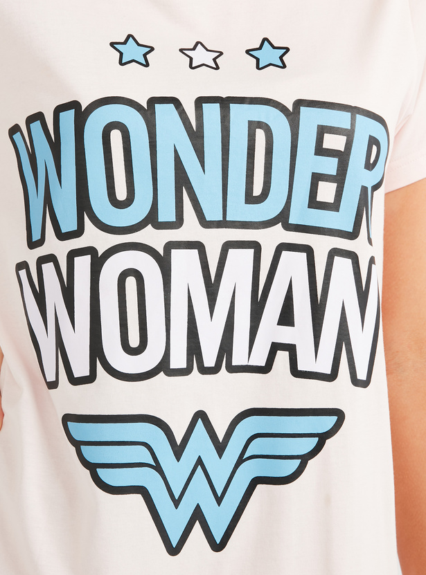 Wonder Woman Print Sleep Dress with Round Neck and Short Sleeves