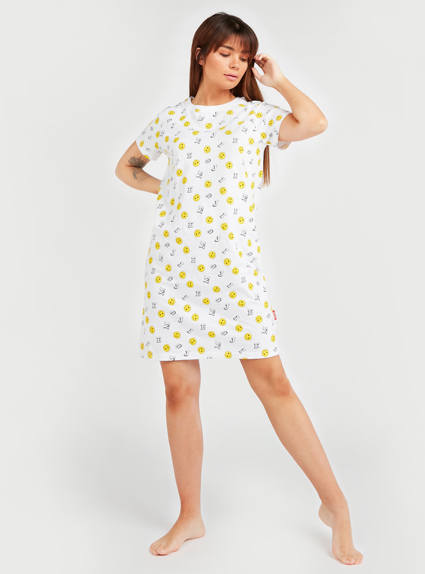 All Over Emoji Print Sleep Dress with Round Neck and Short Sleeves