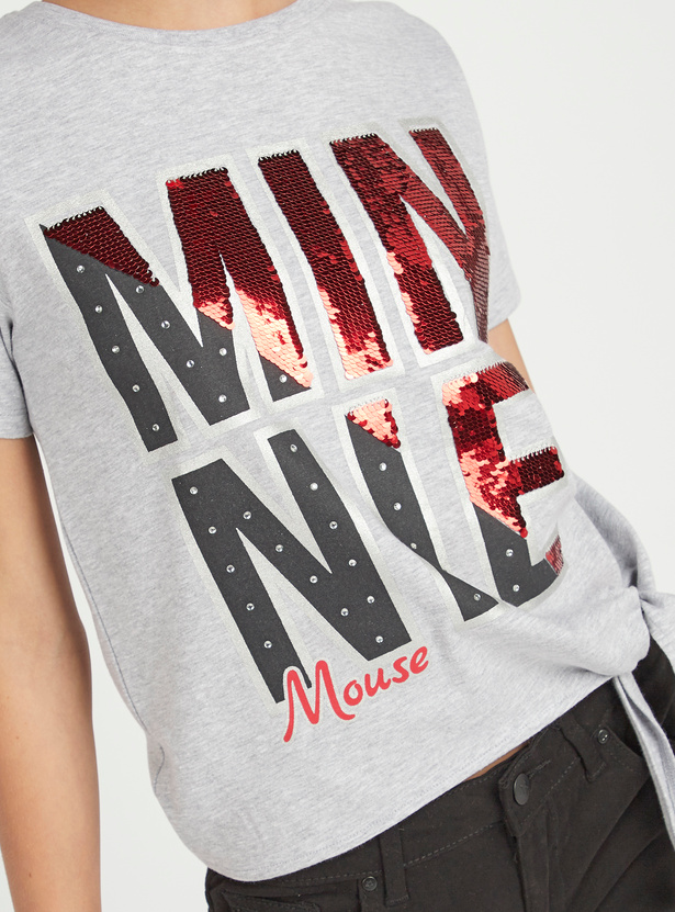 Minnie Mouse Print T-shirt with Short Sleeves and Sequin Detail