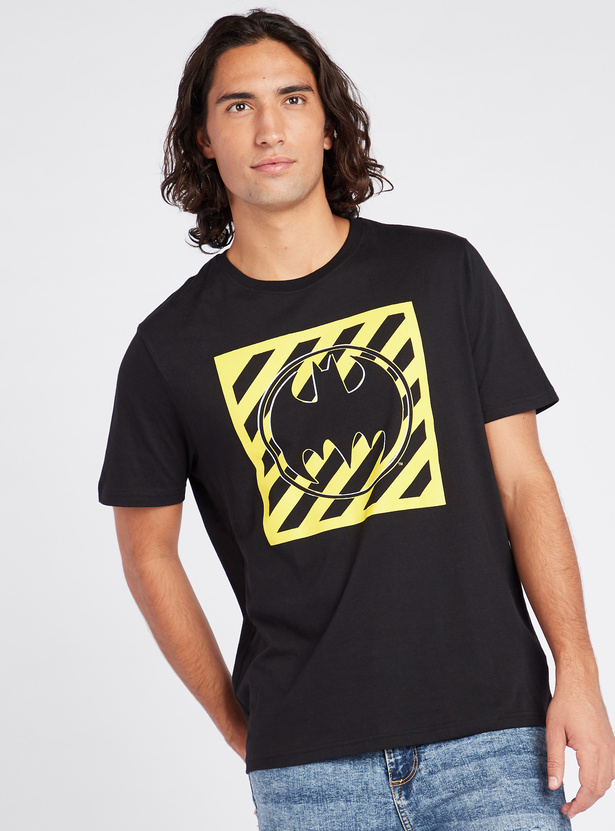 Batman Print T-shirt with Short Sleeves and Round Neck