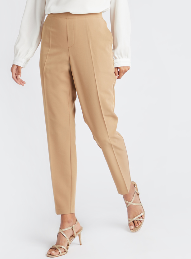 Ankle Length Solid Pants with Semi-Elasticated Waist and Pockets