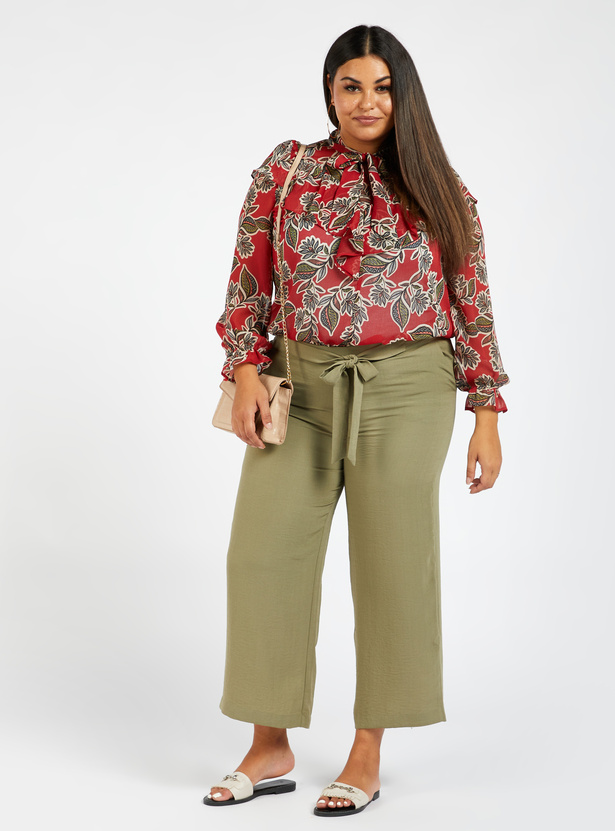 Floral Print Long Sleeves Top with Necktie