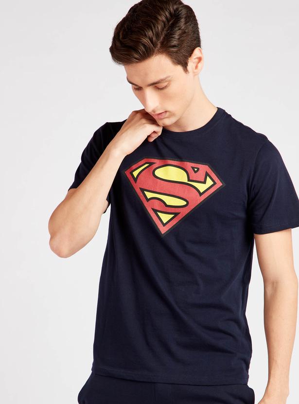 Superman Print Round Neck T-shirt and Shorts Set