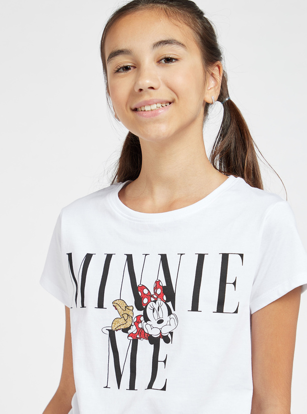 Minnie Mouse Print T-shirt with Round Neck and Cap Sleeves