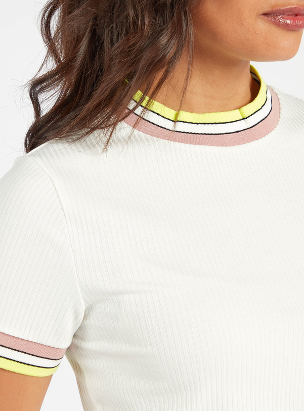 Ribbed T-shirt with Striped Round Neck and Short Sleeves