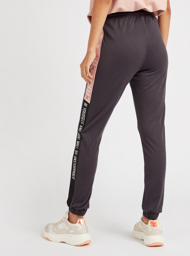 Mid-Rise Jog Pants with Printed Side Tape and Drawstring