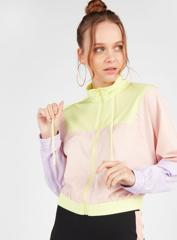 Colourblock Jacket with High Neck and Long Sleeves