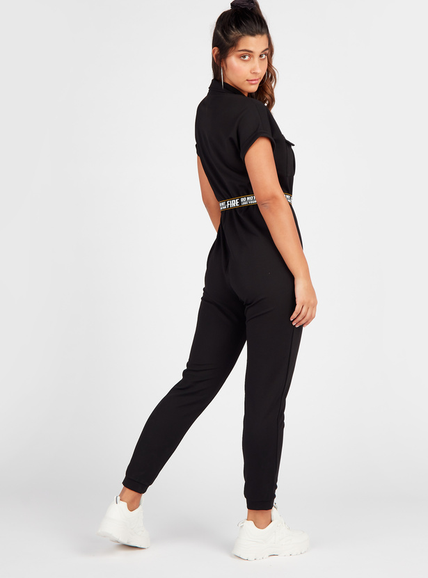 Solid Full Length Jumpsuit with Short Sleeves and Pockets