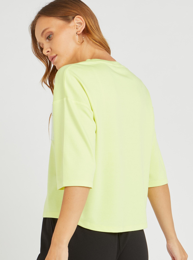Printed Boxy Top with Round Neck and 3/4 Sleeves
