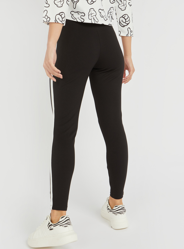 Solid Mid-Rise Pants with Tape Detail and Elasticised Waistband