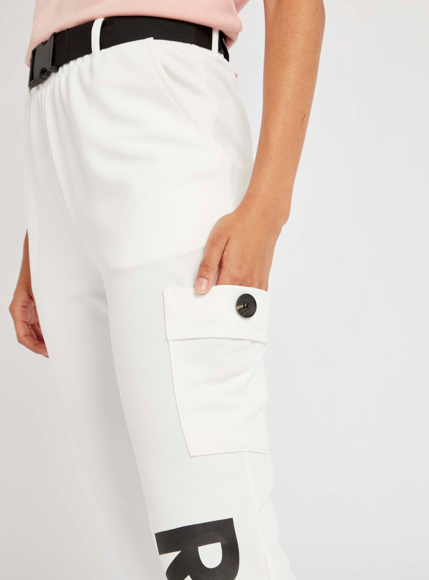 Text Print Mid-Rise Jog Pants with Belt and Pocket Detail
