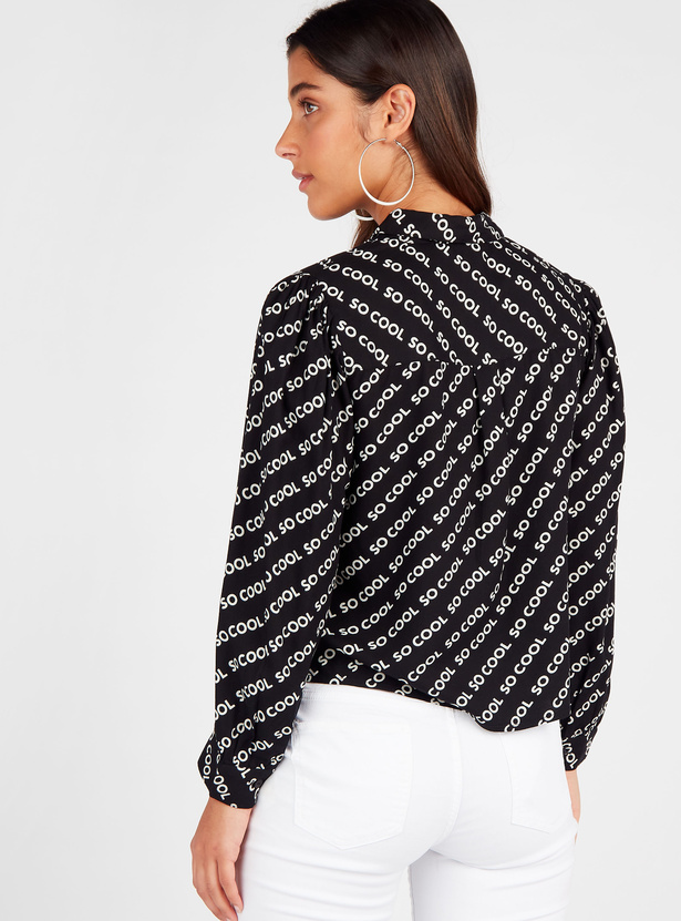 Typographic Print Collared Shirt with Long Sleeves