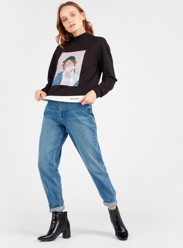 Graphic Print Sweat Top with High Neck and Long Sleeves