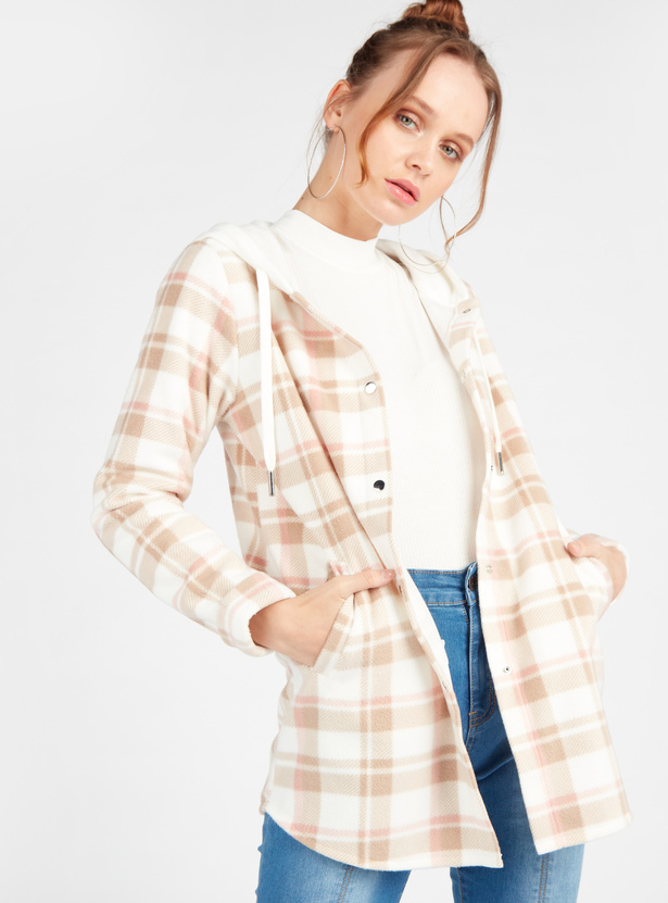 Checked Button Up Jacket with Long Sleeves and Drawstring Hood