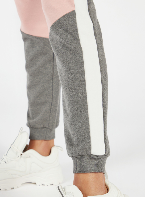 Colour Block Jog Pants with Elasticised Waistband and Drawstring
