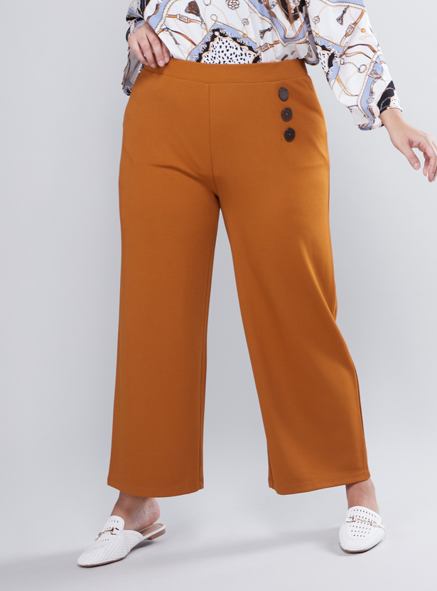 Button Detail Palazzo Pants with Elasticised Waistband