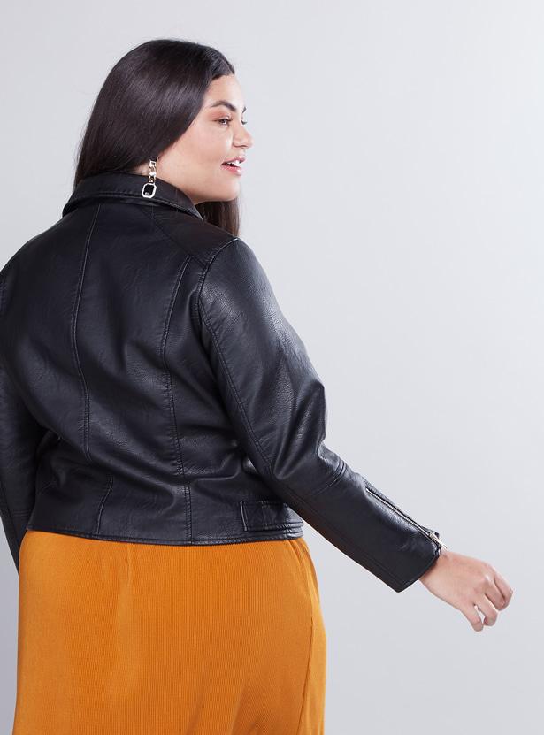 Biker Jacket with Lapel Collar and Zip Detail
