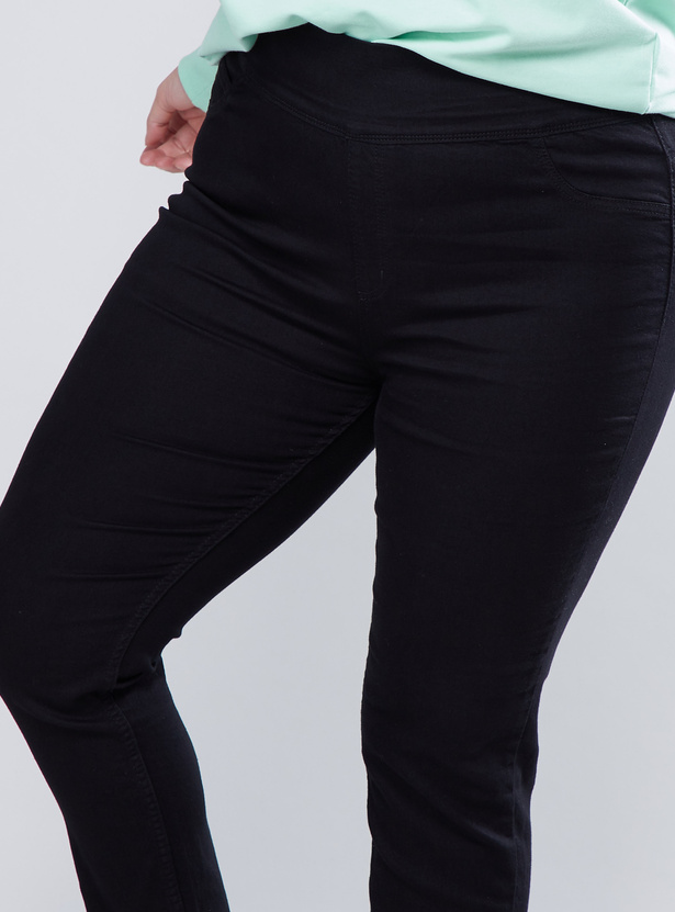 Denim Jeans with Elasticised Waistband and Pocket Detail