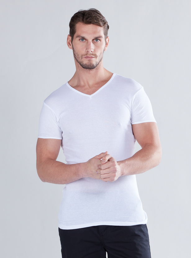 Set of 2 - Solid Vests with V-neck and Short Sleeves