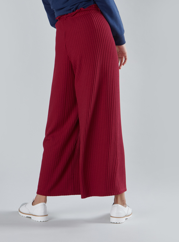 Ribbed Palazzo with Elasticated Paperbag Waist