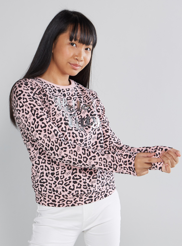 Hello Kitty Printed T-shirt with Round Neck and Long Sleeves