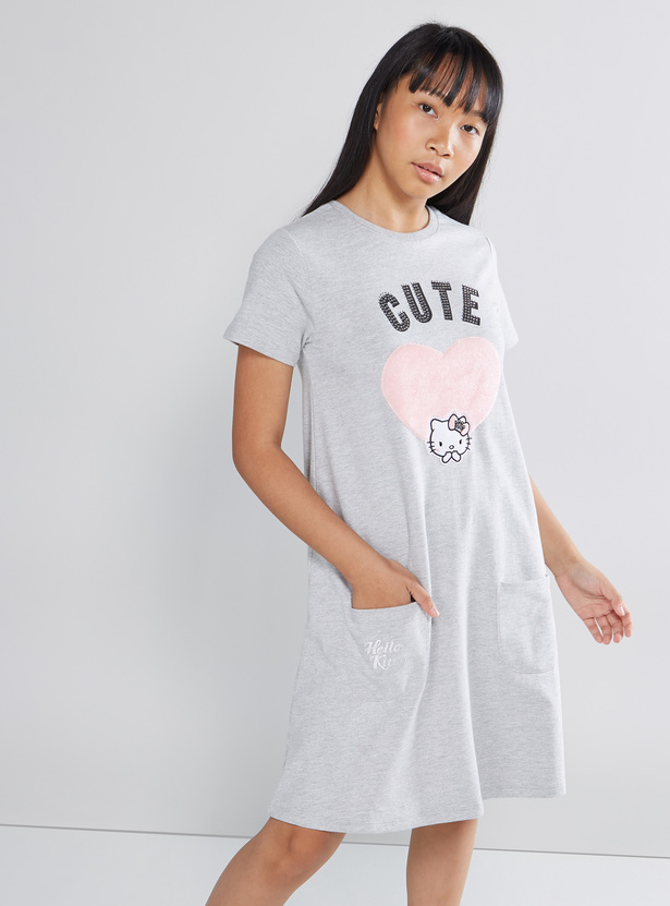 Hello Kitty Printed A-line Dress with Pocket Detail