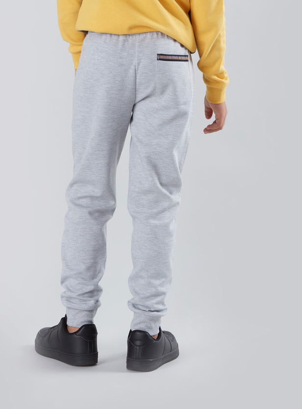 Knitted Printed Joggers with Drawstring Waistband