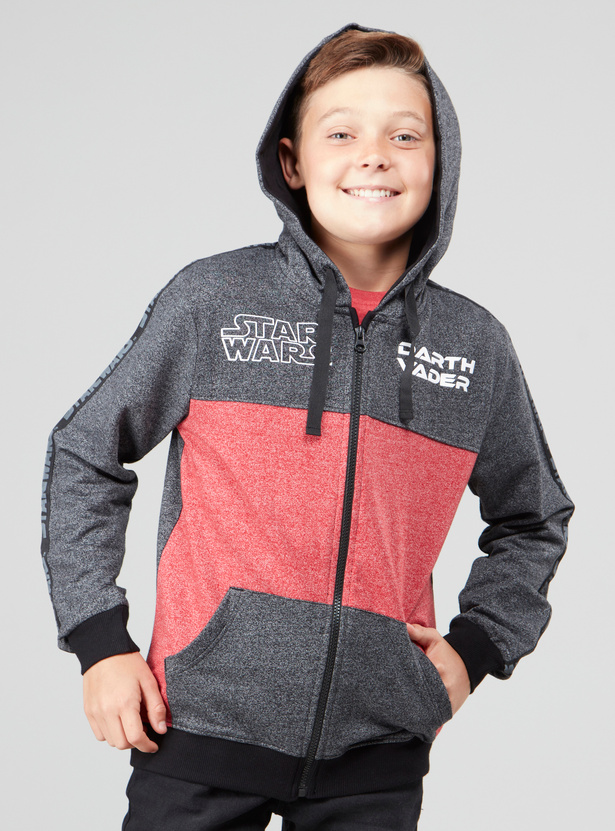 Star Wars Printed Colour Block Sweatshirt with Hood and Pocket Detail