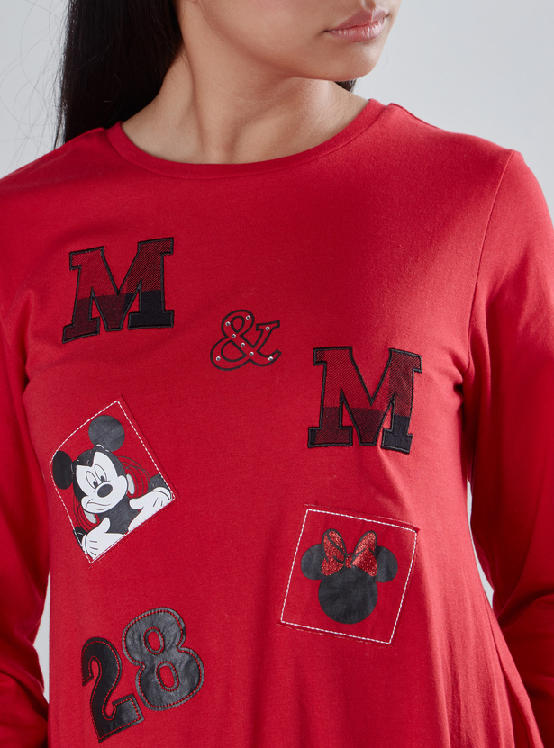 Mickey Mouse Printed T-shirt with Long Sleeves