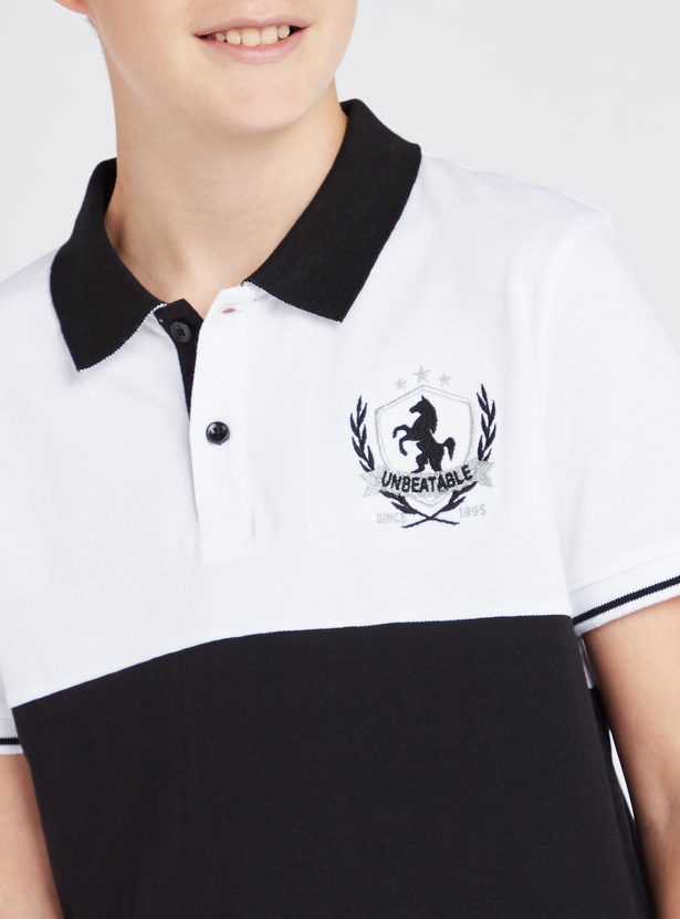 Embroidered Polo T-shirt with Short Sleeves