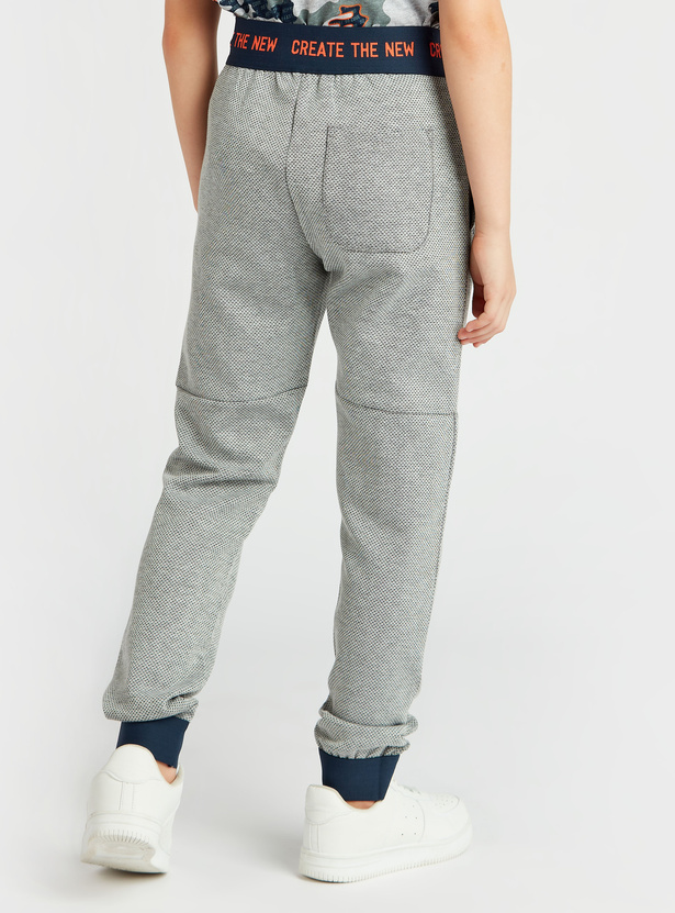 Textured Full Length Knit Joggers with Drawstring Closure