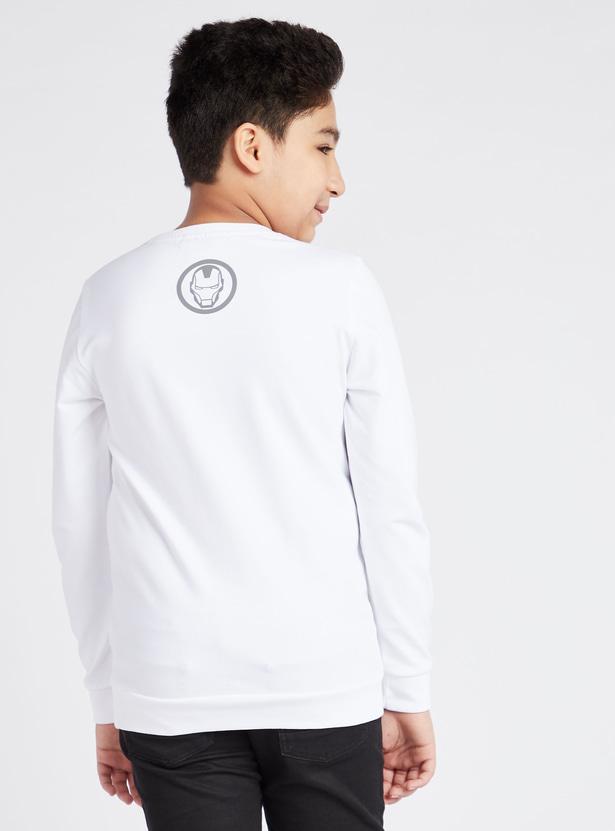 Avengers Assemble Iron Man Print Sweatshirt with Long Sleeves