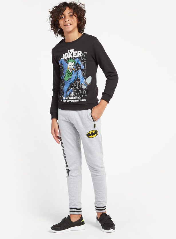 Joker Graphic Print Sweatshirt with Round Neck and Long Sleeves