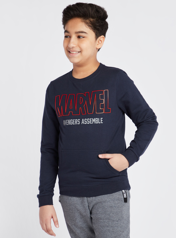Marvel Avengers Assemble Print Sweatshirt with Long Sleeves