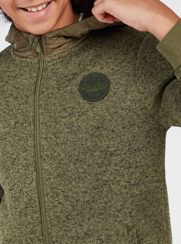 Textured Hooded Jacket with Long Sleeves and Elbow Patches