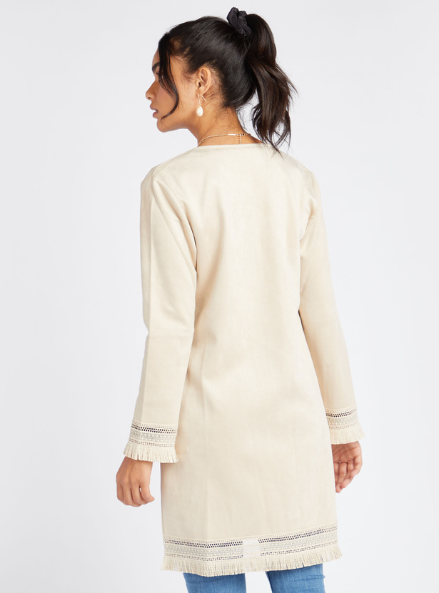 Solid Longline Shrug with Long Sleeves and Fringed Hems