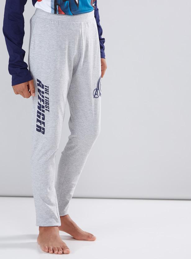Captain America Printed T-Shirt and Full Length Pyjama Set