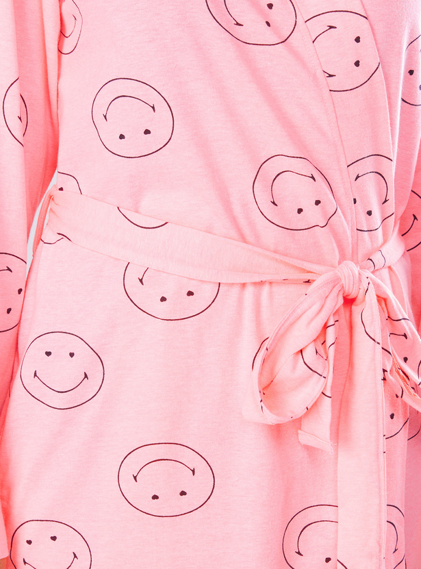 Printed Long Sleeves Mini Robe with Tie Ups and Eye Mask
