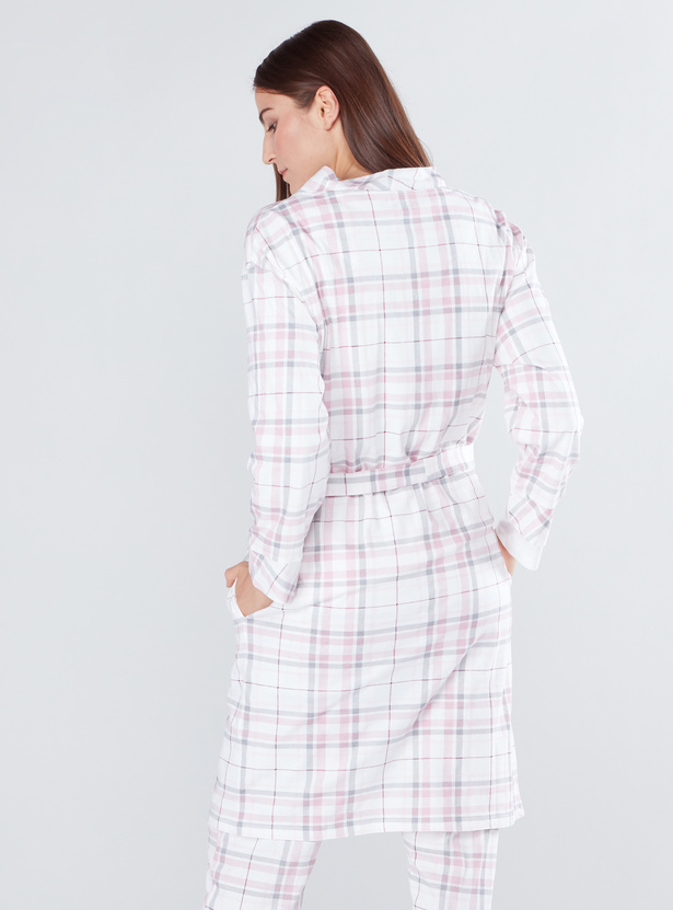 Chequered Robe with Pocket Detail and Tie Ups