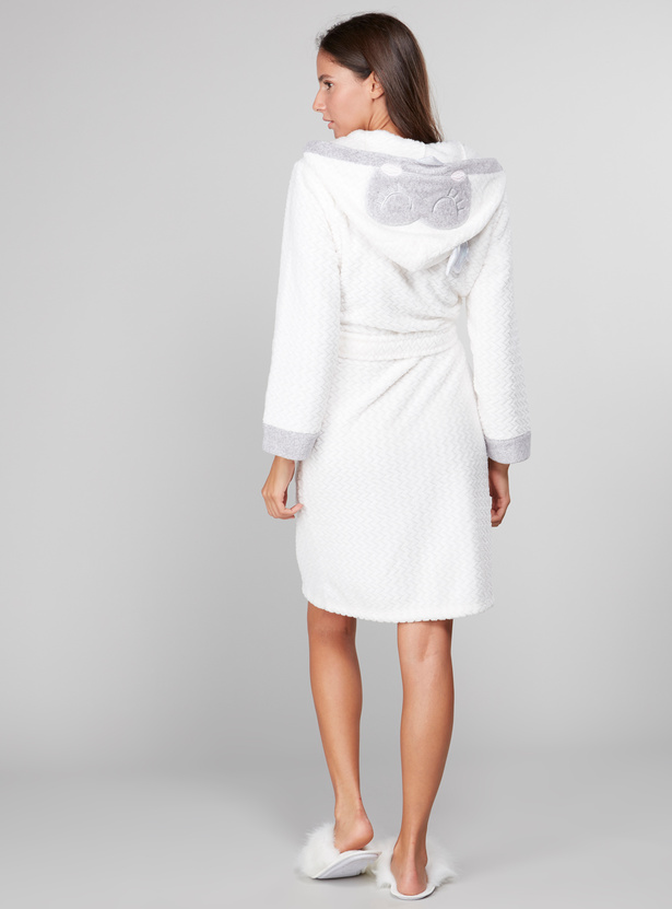 Cozy Collection Textured Hooded Bath Robe with Front Knot Styling
