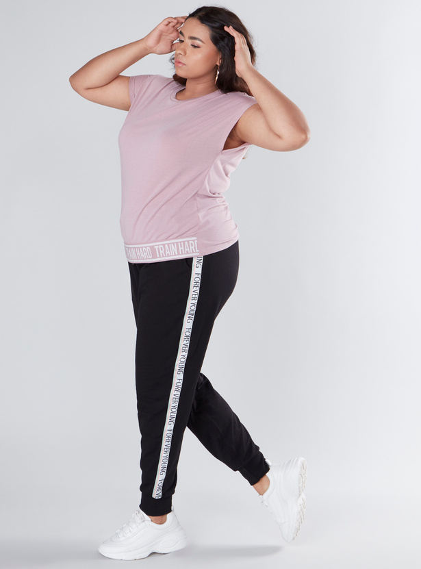 Full Length Jog Pants with Printed Side Tape and Pocket Detail