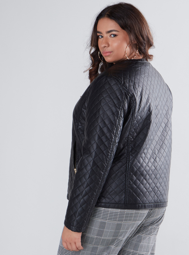 Quilted Biker Jacket with Long Sleeves