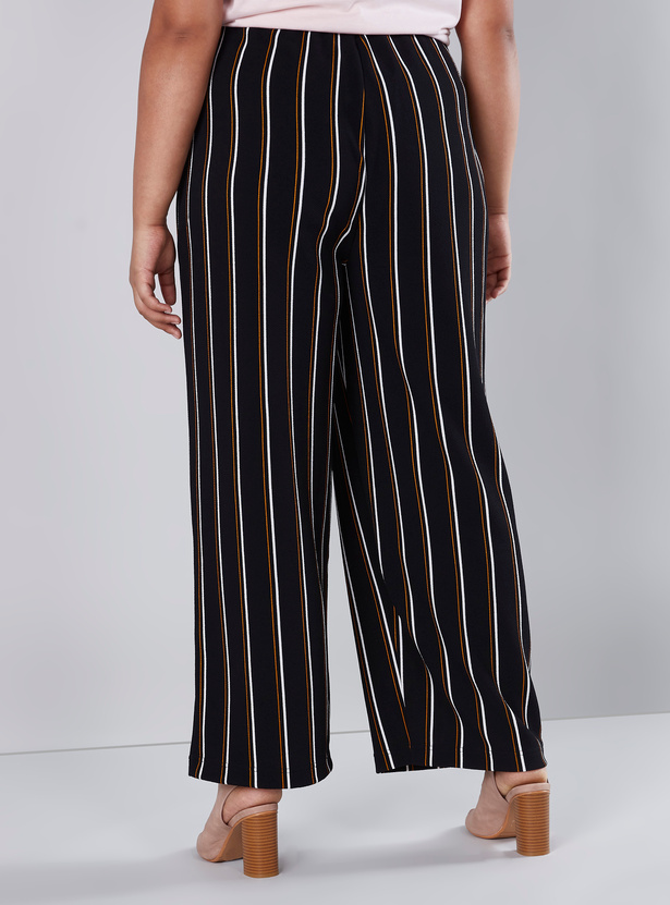 Striped Palazzo Pants with Button Closure
