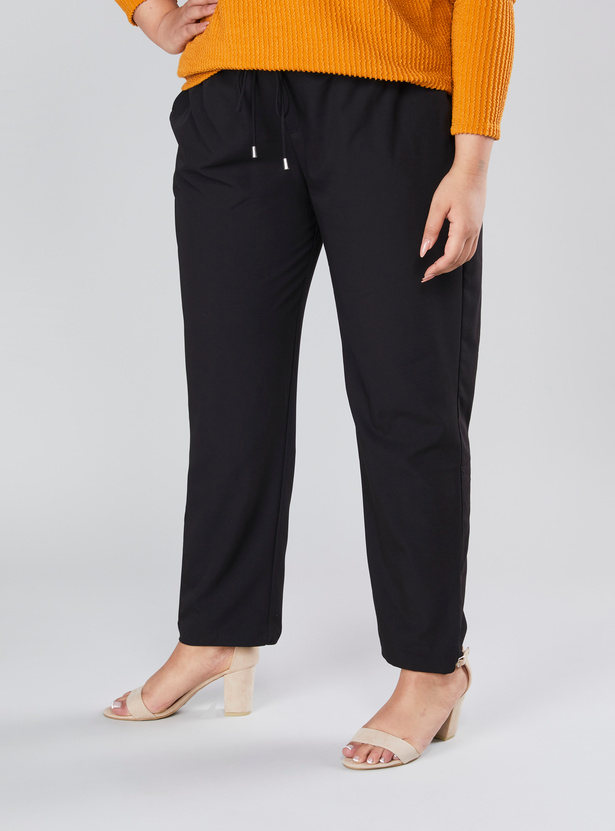Full Length Plain Mid Rise Pants with Pocket Detail and Drawstring
