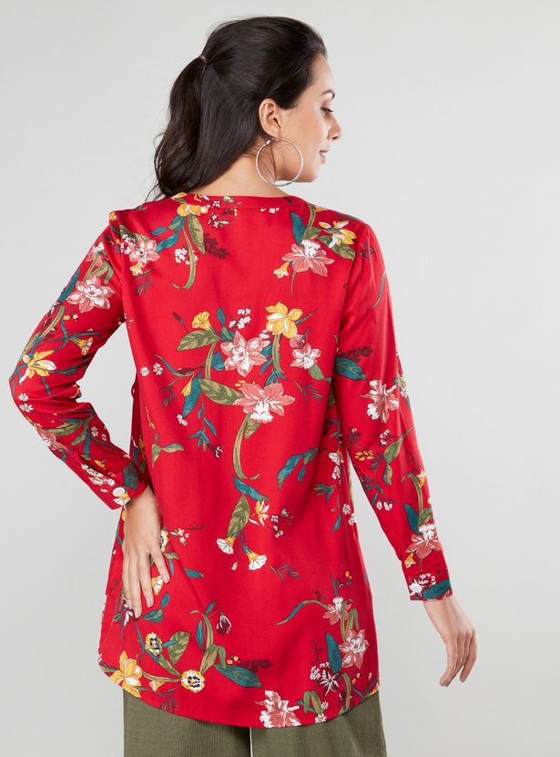 Floral Print Maternity Tunic with Long Sleeves